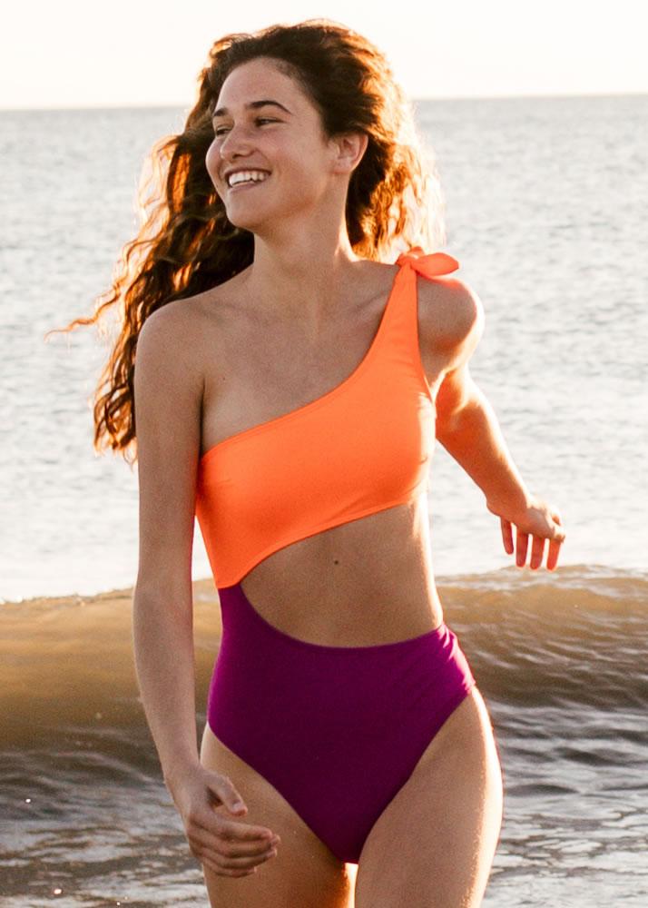 Triboo Swims - Moda baño - Bañador Zanzíbar Buganvilla y Flúor Orange