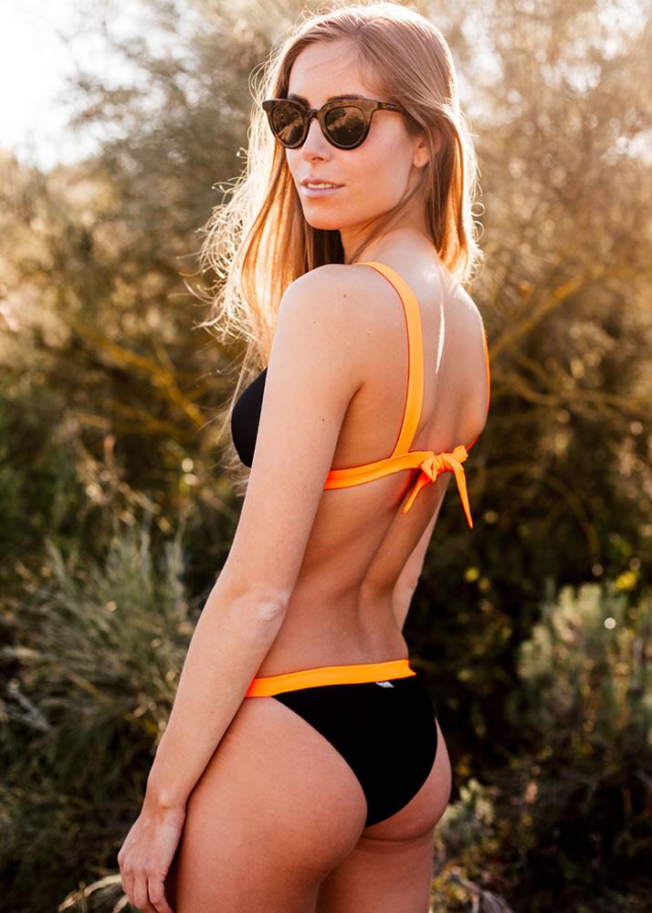Triboo Swims - Moda baño - Bikini Bora-Bora Piqué Negro y Fluor Orange